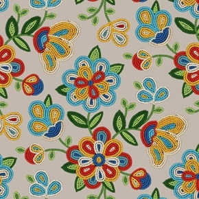 Tucson Southwest Aztec Beaded Flowers Beading Sepia Cotton Fabric