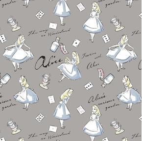 Disney Alice in Wonderland Teatime Curious Garden Grey Cotton Fabric