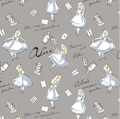 Disney Alice in Wonderland Teatime Curious Garden Grey Cotton Fabric