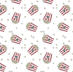Popcorn Bucket Toss Movie Buttered Popcorn White Cotton Fabric