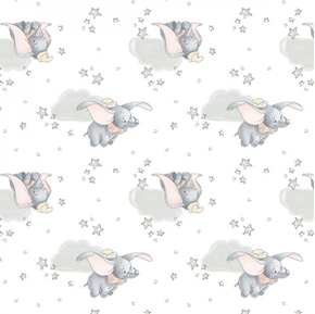 Disney Dumbo in the Sky Dumbo and Stars on White Cotton Fabric