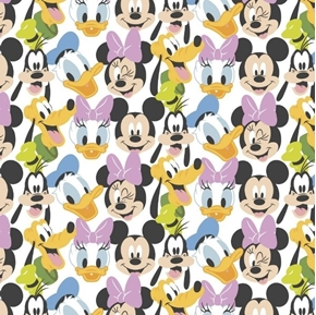 Disney Mickey Mouse Here Comes The Fun Goofy Pluto Daisy Cotton Fabric