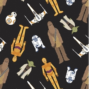 Star Wars Tossed in Space Yoda Chewbacca C-3PO Black Cotton Fabric