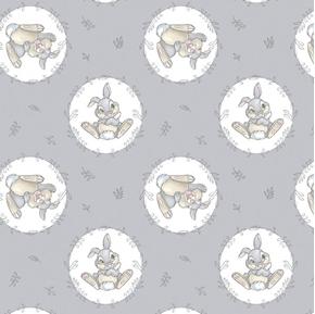 Disney Bambi Sweet Thumper Playful Bunny Grey Cotton Fabric