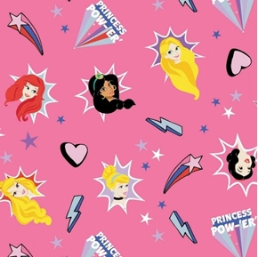 Disney Tossed Princess Burst Aurora Ariel Snow White Pink Cotton Fabric