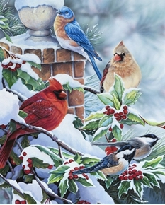 Songbirds and Holly Cardinal Bluebird Chickadee Winter Fabric Panel