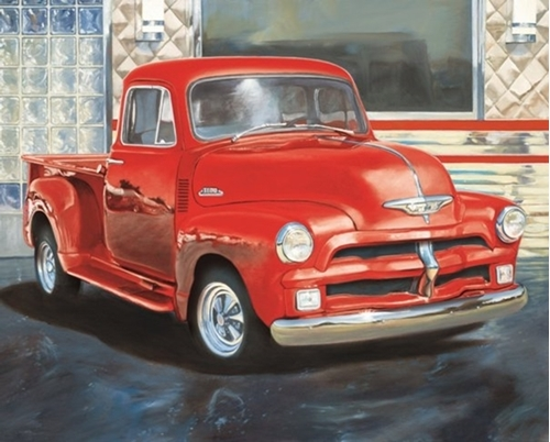 Red and White Truck Vintage Red Truck at Dinner Cotton Fabric Panel
