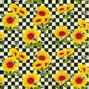 Sunshine and Bumble Bees Sunflowers and Bees on Checks Cotton Fabric