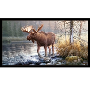 In His Domain Wild Moose by Greg Alexander 24x44 Cotton Fabric Panel