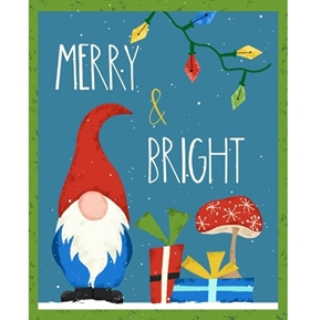 Merry and Bright Gnome Christmas Holiday 24x44 Cotton Fabric Panel