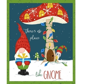 Gnome World No Place Like Gnome Christmas Holiday 24x44 Fabric Panel