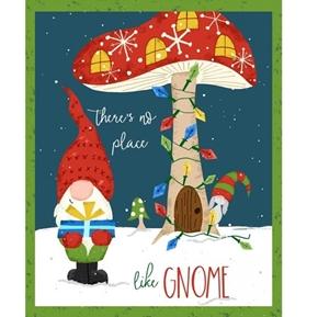 Gnome World No Place Like Gnome Christmas Holiday 24x44 Fabric Panel