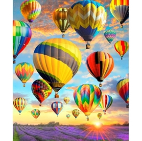 Hot Air Balloon on a Colorful Sky Lavender Fields Digital Fabric Panel
