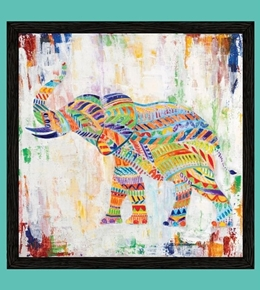 Artworks XIII Rainbow African Elephant 24x22 Cotton Fabric Pillow Panel