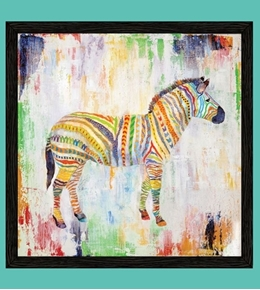 Artworks XIII Rainbow Safari Zebra 24x22 Cotton Fabric Pillow Panel