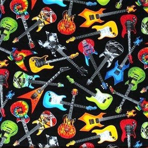 Electric Guitar Wild Scattered Guitars Black Musical Cotton Fabric