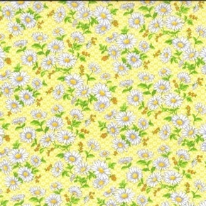 Daisy Delight Small White Daisies on Yellow Cotton Fabric
