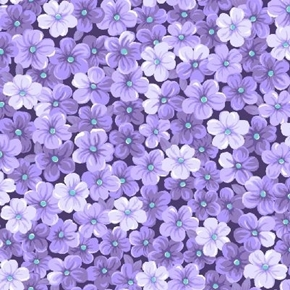 Purple Mini Floral Forget-me-nots Packed Cotton Fabric