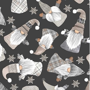 Holiday Gnomes Winter Gnome and Snowflakes Black Cotton Fabric