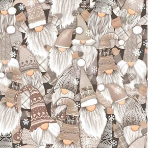 Holiday Gnomes Packed Winter Gnome Sweaters and Caps Cotton Fabric