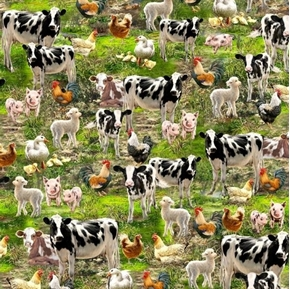 Farm Animals Cows Lambs Roosters Pigs Ducks Chicks Cotton Fabric