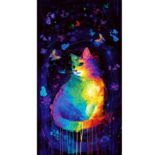Painted Cat Rainbow Colored Cat and Butterfly 24x44 Cotton Fabric Panel