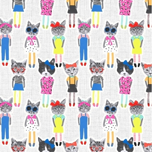 Cat People Cats Dressed Like People Comical Cotton Fabric