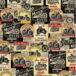 Motorcycle Patches Cycle Advertisements Stickers Brown Cotton Fabric
