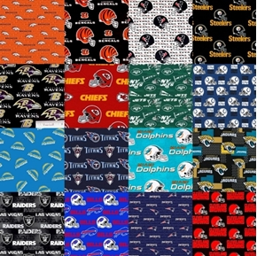 """NFL Football 16 AFC Team Licensed Cotton 9x28"""" Fabric Strips"""