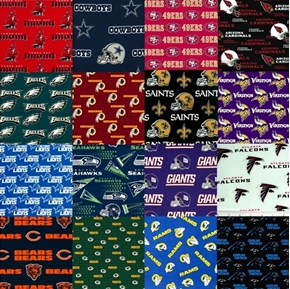 """NFL Football 16 NFC Team Licensed Cotton 9x28"""" Fabric Strips"""
