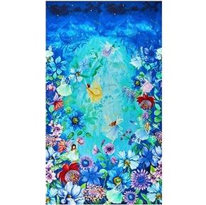 Fairy Fantasy Pixie Fairies in Aqua Flower Garden 24x44 Fabric Panel