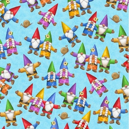 Home Sweet Gnome Tossed Garden Gnomes Blue Cotton Fabric