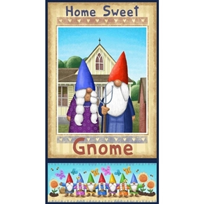 Home Sweet Gnome Mr and Mrs Garden Gnomes 24x44 Cotton Fabric Panel