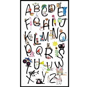 Alphabet Soup Learn The ABC's School 24x44 Cotton Fabric Panel