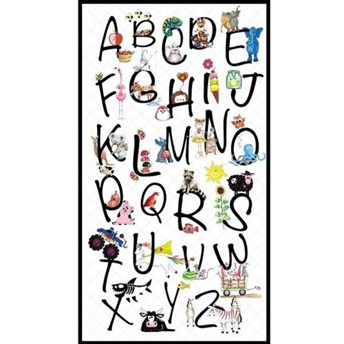 Alphabet Soup Learn The ABC's School 24x44 Cotton Fabric Panel