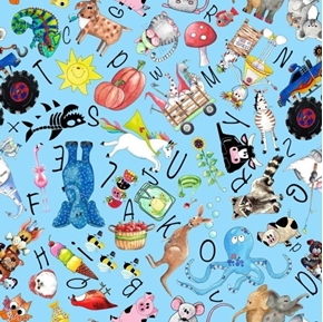 Alphabet Soup Character Toss Learn The ABC's School Blue Cotton Fabric
