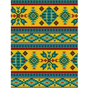 Tucson Southwest Aztec Native American Beaded Design Gold Cotton Fabric