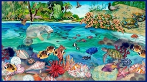This and That IV Manatee Aquatic Scene 24x44 Cotton Fabric Panel