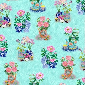 Porcelain Blossoms Asian Flowers and Jardiniere Blue Cotton Fabric