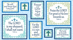Psalms Religious Psalm Patches Framed Quotes 24x44 Cotton Fabric Panel