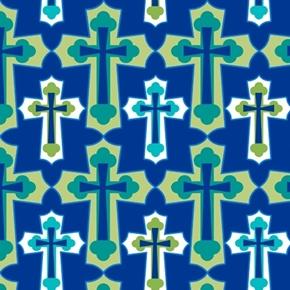 Psalms Set Crosses Framed Cross Religious Navy Blue Cotton Fabric
