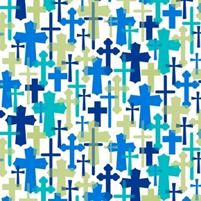 Psalms Overlapping Crosses Religious Blue Navy Tan Cross Cotton Fabric