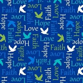 Psalms Inspirational Words Faith Hope Religious Blue Cotton Fabric