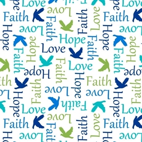 Psalms Inspirational Words Faith Hope Religious White Cotton Fabric