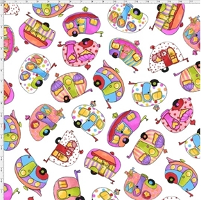 Tipsy Trailer Toss Fun Colorful Campers Loralie White Cotton Fabric