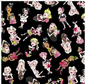 Tossed Lookers Hairdresser Beauty Salon Black Loralie Cotton Fabric