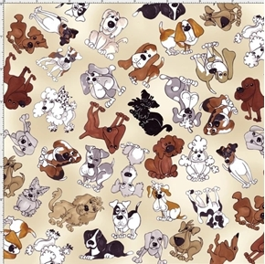 Tossed Doggies Cute Dogs Puppies Mutts Loralie Tan Cotton Fabric