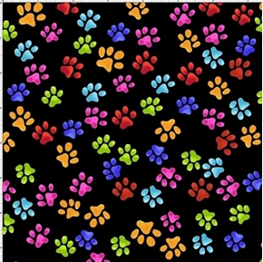 Paw Prints Cat and Dog Paws Colorful Print Loralie Black Cotton Fabric