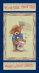 Teddy's America Patriotic Teddy Bear 24x44 Cotton Fabric Panel