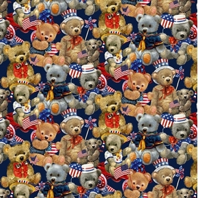 Teddy's America Packed Teddy Bears Patriotic Bear Cotton Fabric